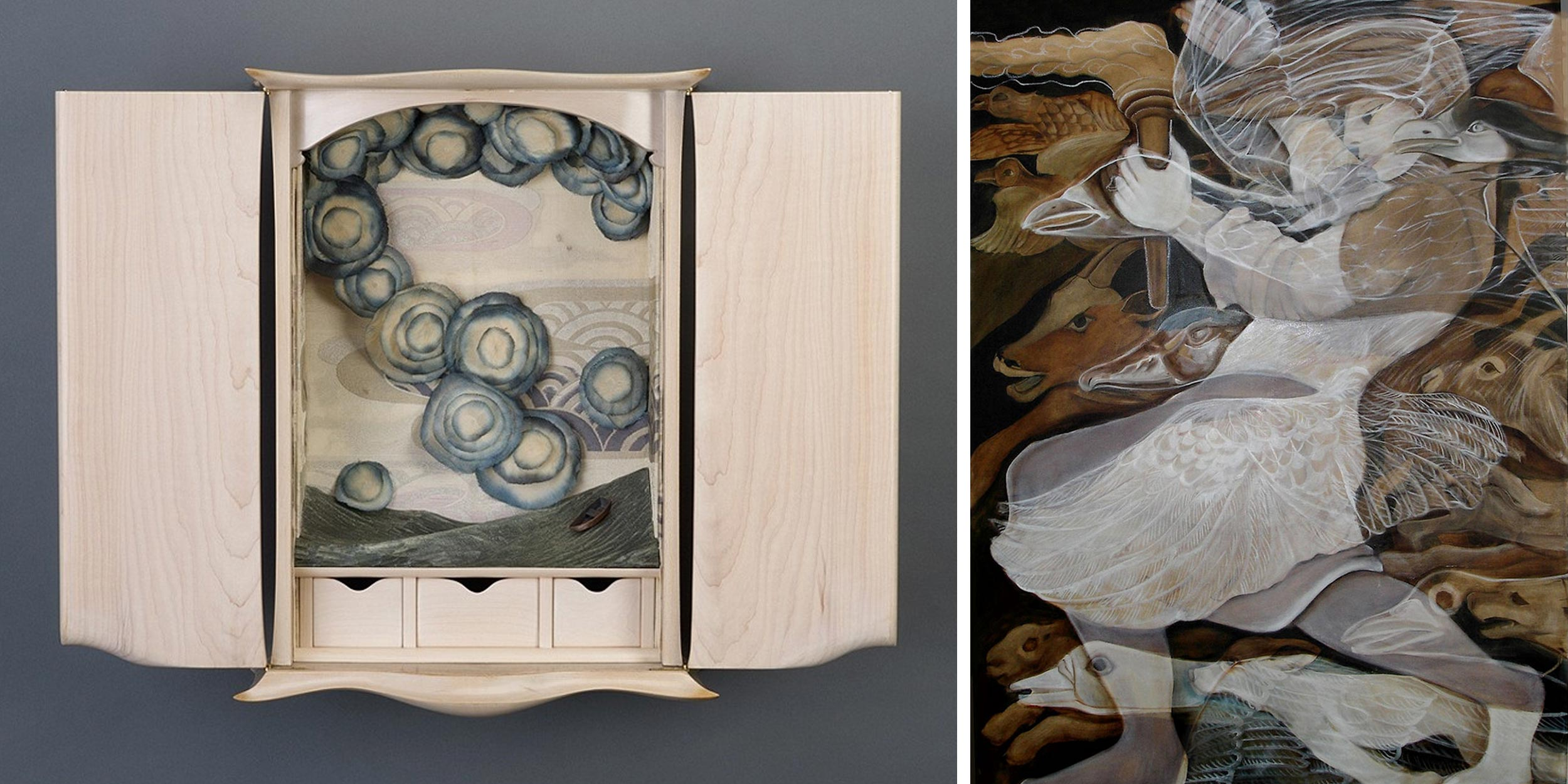 Sarah Martin cabinet and Lea Goldman painting images