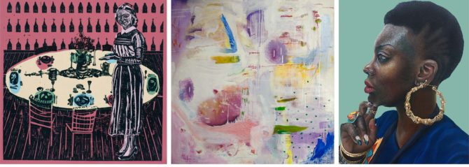 Images of work by Kelley Hershberger, Isabella Di Bono Becerra and Amanda Gargac
