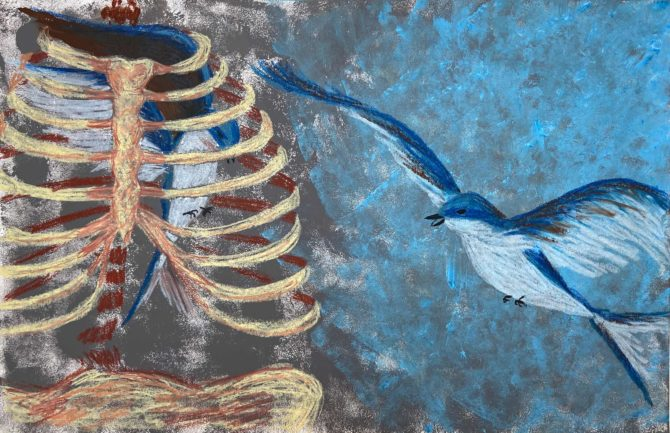 Oil pastel drawing by Cindy Berryman, a prior participant of Afterimages